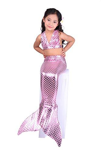 Toddler Mermaid Tail (Dressy Daisy Girls' 3pcs Mermaid Tail Swimwear Mermaid Swimsuit Bathing Suit Bikini Costume Dress Size 5-6 Purple Pink)