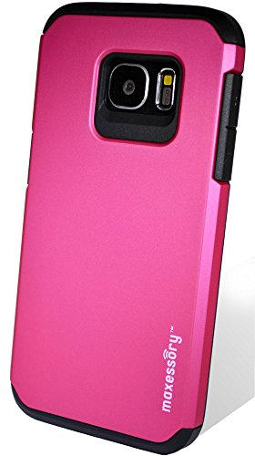 Galaxy S7 Case, Maxessory Hot Pink Globetrotter Heavy-Duty Protective Hybrid Cover w/Durable Shock-Absorbing Full-Body Protective Tough Hard Shell ()