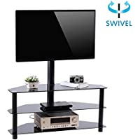Valentines Day Deals RFIVER Black Corner Floor TV Stand with Swivel Mount Bracket for for 32 to 65 inchTVs, 3-Tier Tempered Glass Shelves for Audio Video TW2002