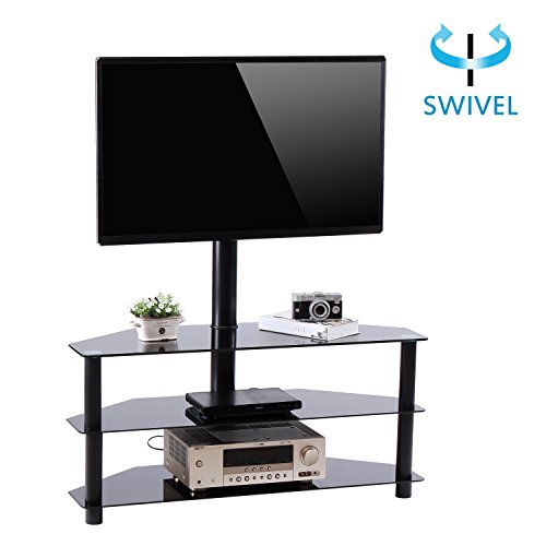 Valentine's Day Deals RFIVER Black Corner Floor TV Stand with Swivel Mount Bracket for for 32 to 65 inchTVs, 3-Tier Tempered Glass Shelves for Audio Video TW2002 (32 Inch Black Glass)