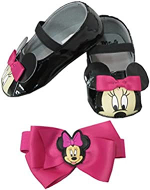 Minnie Mouse Girls Infant Headwrap and Shoes Set Size: 0-6 Months