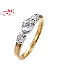 GDSHOP Size 8 Women Fashion Jewelry Rings 10 KT White/Yellow Gold Filled Zircon Finger Rings Wedding Rings High Quality