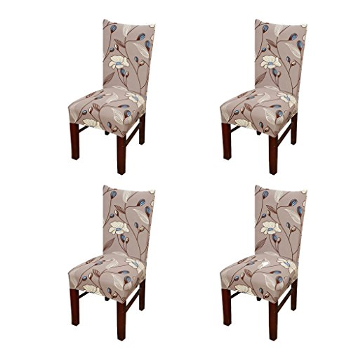 SoulFeel 4 x Soft Stretchable Dining Chair Covers with Printed Floral Patterns, Spandex Banquet Chair Seat Protector Slipcovers for Holiday Home Party, Hotel, Wedding Ceremony (Style 33, Floral)