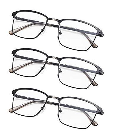 3-Pack Spring Hinges Brushed Metal Reading glasses