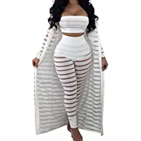 OLUOLIN Women Sheer Mesh 3 Piece Outfit Tube Crop Top Long Kimono Cardigan Cover up Bodycon Pants Suit Set