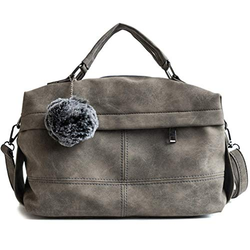 Leather Fur Gray Messenger Green Women cm Ball PU Handbags Bags 29X12X21 S1ddT