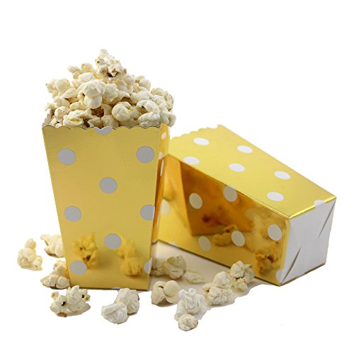 IPALMAY Mini Paper Popcorn Boxes 36 Packs - Birthday Favor Box - Buffet Boxes - Sweet Boxes, Family Movie Night Boxes, Gold and White Polka Dot - White Gold Popcorn