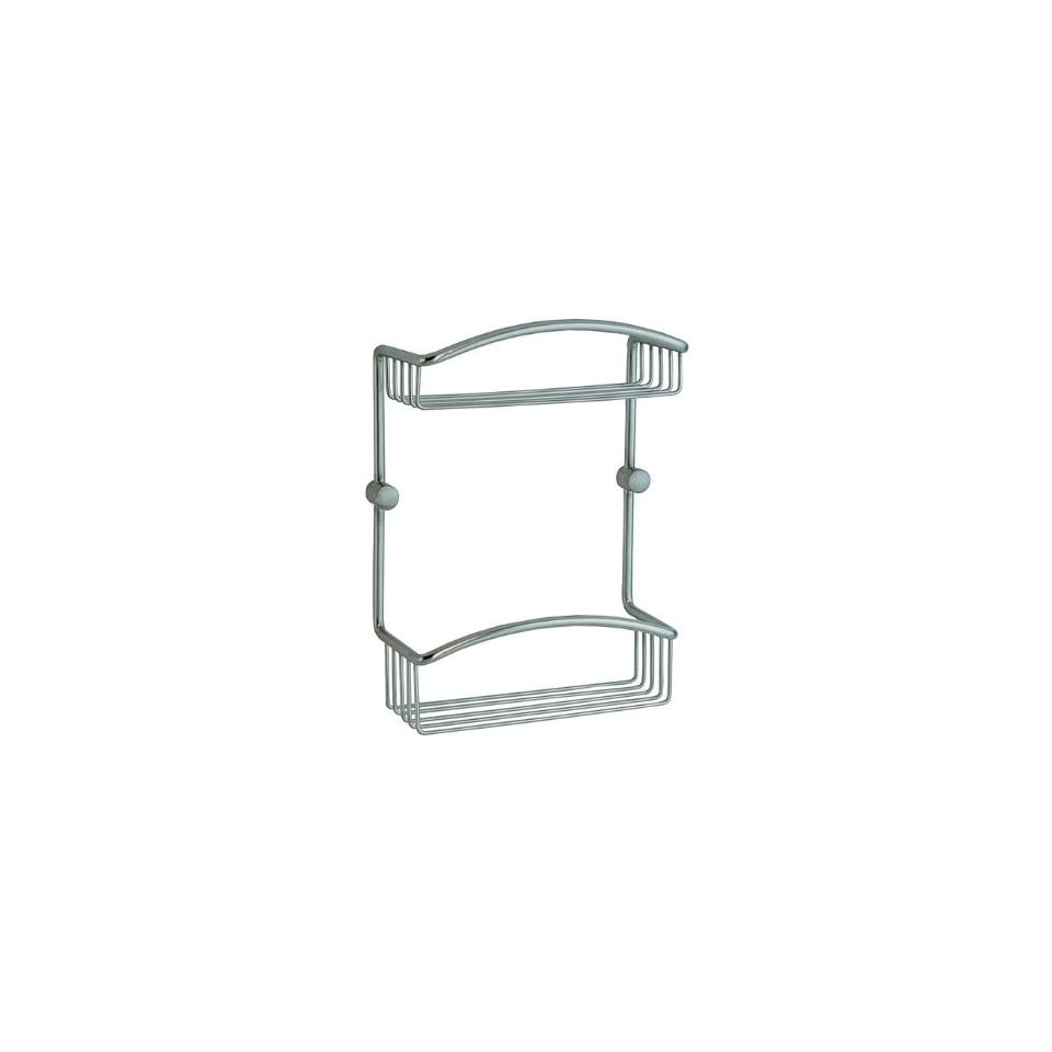 """Smedbo CS377 Brushed Chrome Cabin 8"""" Wall Mounted Double Level Shower Basket in Brushed Chrome from the Cabin Collection CS377   Shower Caddies"""