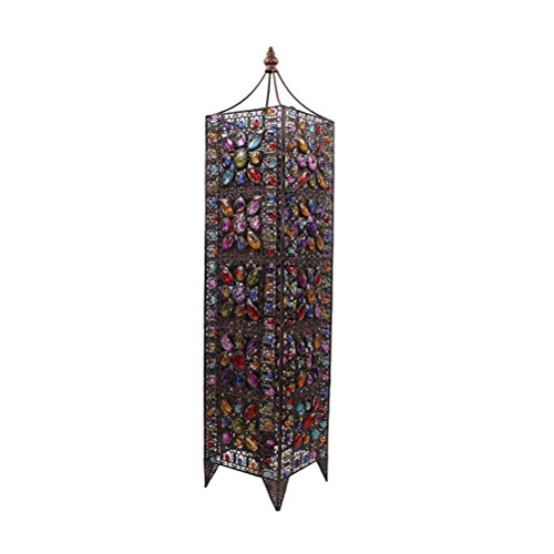 Colourful Glass Beads - FORWIN Floor Lamp w- Large Iron Moroccan Floor Lamp Stylish Cutwork Jeweled Floor Light with Colourful Organic Glass Beads E142,99x21cm Indoor Lighting