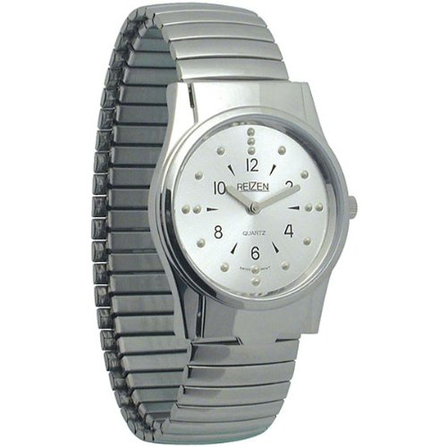 REIZEN Mens Braille Watch -Chrome, Exp. Band by Reizen
