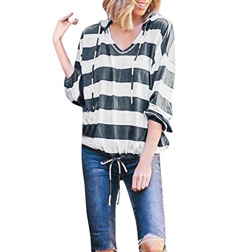 TANGSen Womens Long Sleeve Tops Ladies Casual Stripe Hoodie Pullover Loose Tops V-Neck Fashion Plus Size Blouse Gray