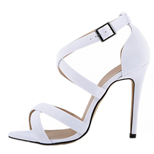 Stiletto Toe Sandales Blanc Boucle Peep Escarpins Hooh Out Femmes Hollow Daim naxRAZq0