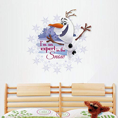 weilaike Funny Cute Snowman Beautiful White Snow Beauty Growing Figure Wall Stickers Home Decoration Children's Room Bedroom Applique 40 X 40 cm