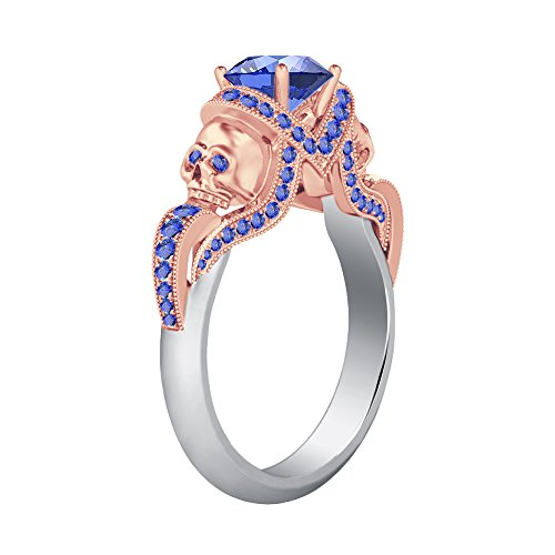 Smjewels 14K White & Rose Gold Platted Engagement Two Skull Desing Ring 1.52Ct Tanzanite CZ