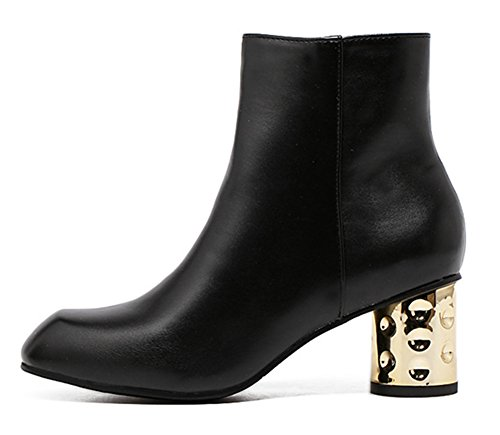 Stiefel High Kurzschaft Heels 1 Damen Reißverschluss Gold Zehen Runde Mit Blockabsatz Schwarz Aisun qw8Y6x