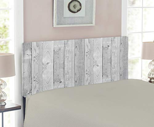 (Lunarable Grey Headboard, Picture of Smooth Oak Wood Texture in Old Fashion Retro Style Horizontal Nature Design Home, Upholstered Decorative Metal Headboard with Memory Foam, for Twin Size Bed, Grey)