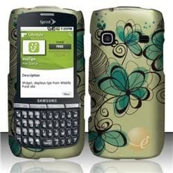 Rubberized Design Cover compatible with Samsung Replenish M580, Azure Flowers