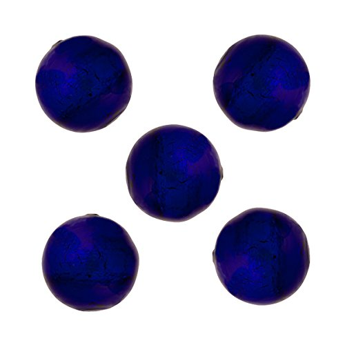 Round 10mm Cobalt Blue Murano Glass Bead .925 Sterling Silver Foil Encased (5 Pieces)