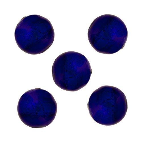 Round 10mm Cobalt Blue Murano Glass Bead .925 Sterling Silver Foil Encased (5 (Silver Foil Round Glass Beads)