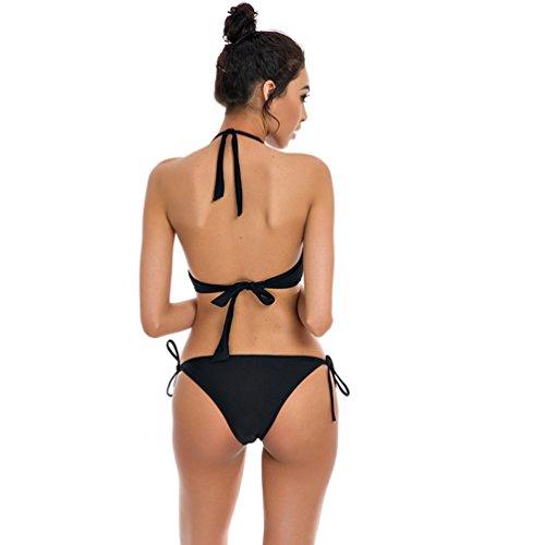 WanYang Mujeres Triángulo Bikini Push Up Beachwear Trajes De Baño Push Up Bikini Conjunto Bandeau Traje de Baño Ropa Negro