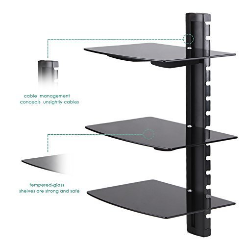 Amzdeal Floating Wall Mounted Shelf Bracket Stand for DVD...