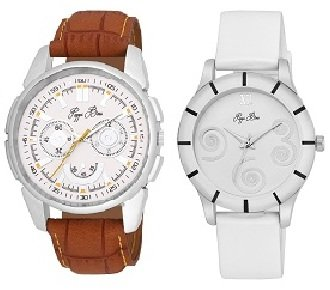 Pack of 2 Couple Casual Leather Analog Wrist Watch for Boys, Men, Girls, Women