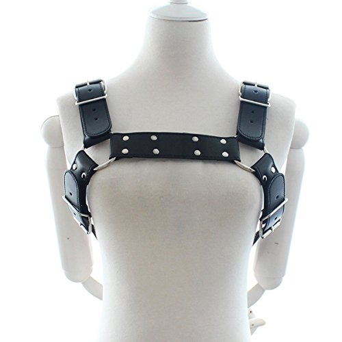 CHICTRY Men's PU Leather Adjustable Chest Half Harness Fancy Club Costume