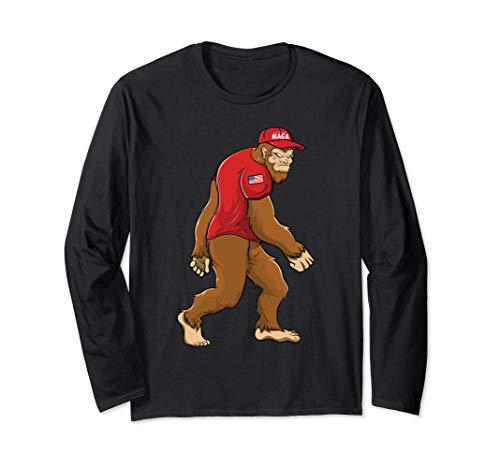 Trump 2020 USA Flag Sasquatch MAGA Bigfoot Long Sleeve T-Shirt