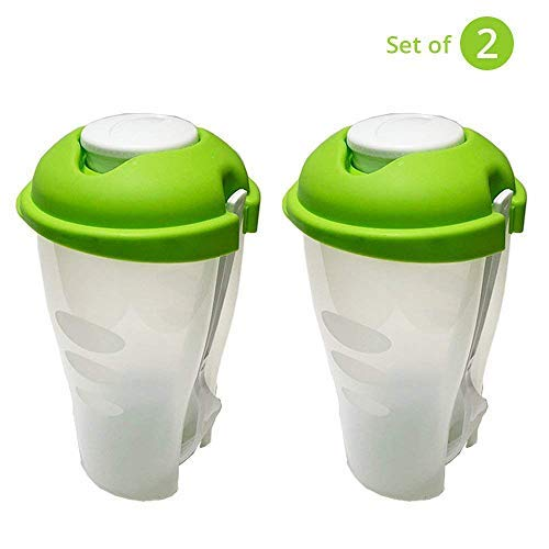 Fresh Salad shaker Cup With Dressing Container and Fork - (Set of 2)