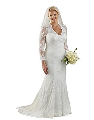 Isabelwedding Women's V Neck Sheer Buttons Lace Plus Size Wedding Dress