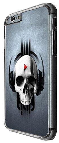 1480 - Cool Fun Trendy skeleton x-ray headphones walking dead scary skull tattoo biker skull Design iphone 6 Plus / iphone 6 Plus S 5.5'' Coque Fashion Trend Case Coque Protection Cover plastique et m