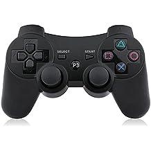[Patrocinado] bowei PS3driver inalámbrico 2pcs choque doble Gamepad para, PlayStation 3SIXAXIS driver de PS3Inalámbrico con cable de carga Negro