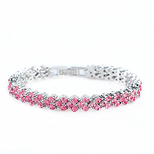 RIZILIA Tennis Bracelet & Round Cut Crystal [Simulated Pink Sapphire] in White Gold Plated, 6.5