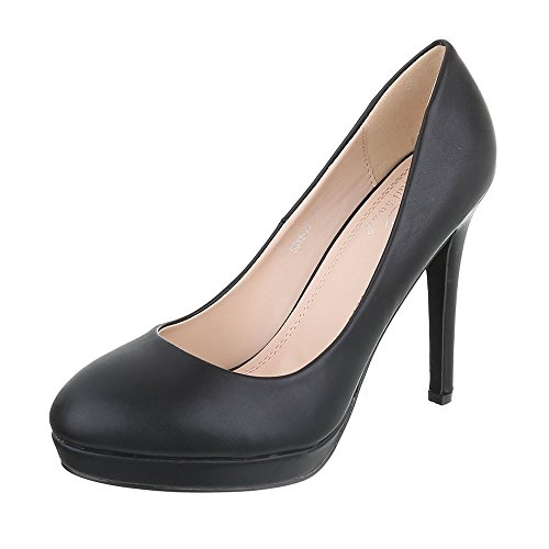 Ital-Design High Heel Pumps Damenschuhe High Heel Pumps Pfennig-/Stilettoabsatz High Heels Pumps Schwarz 5015-22