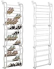 SortWise 36-Pair Over The Door Shoe Rack Hanger Shelf Storage Holder Organizer, White