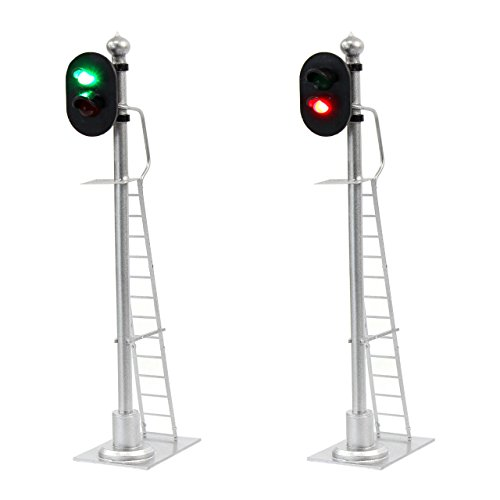 JTD433GR 2PCS Model Railroad Train Signals 2-Lights Block Signal 1:43 O Scale 12V Green-Red Traffic Lights for Train Layout New from Evemodel