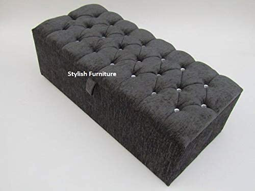 Large Stylish Charcoal Grey Chenille Fabric Crystal Diamante Ottoman Toy Storage /& Blanket Box By Nice Headboards