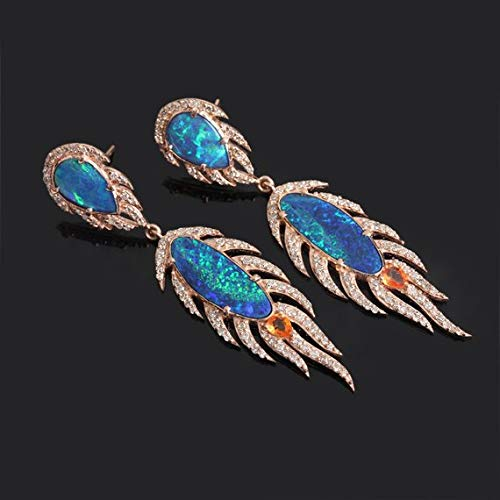 Orange Sapphire Boulder Opal Gemstone Dangle Earrings Solid 18k Rose Gold Handmade Diamond Pave Jewelry