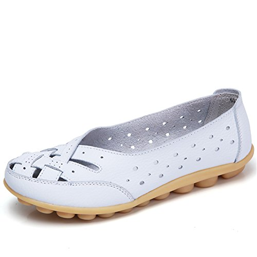 Z-joyee Womens Hollow Out Casual Leather Driving Flat Loafers Shoes, Whiet (Ladies Leather Casual Shoes)
