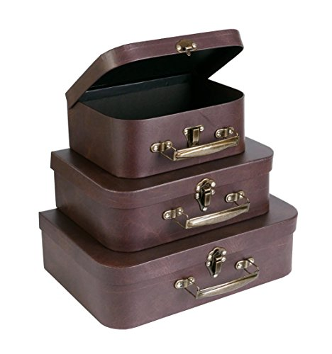 SLPR Paperboard Suitcases (Set of 3, Brown Leather) | Boxes for Birthday Parties Wedding Decoration Displays Crafts Photo shoots