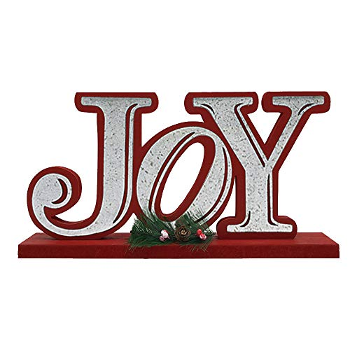 OUCHAN Joy Wooden Table Decor Christmas - Galvanized Christmas Tabletop Display Decorative Word Signs Decorations for Home and Kitchen(Joy)]()