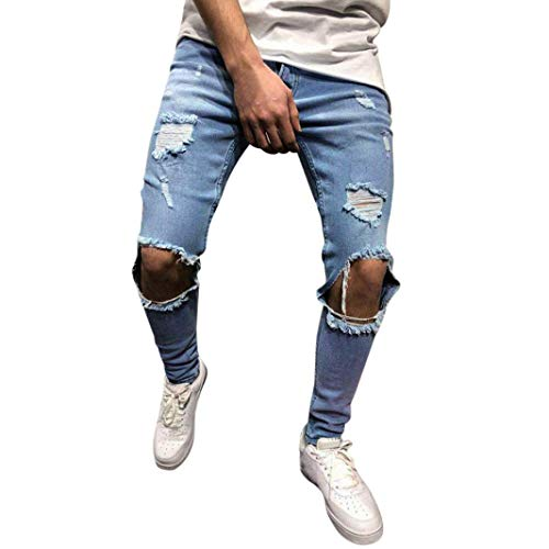 iZHH Mens Skinny Stretch Pants Distressed Ripped Frayed Slim Fit Jeans Trousers(E-Blue,36)