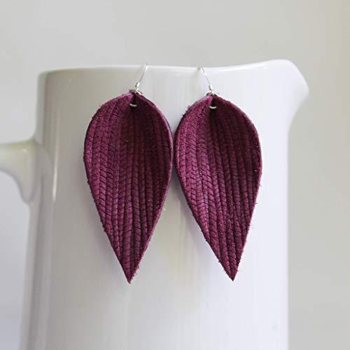 - Genuine Italian Leather & Sterling Silver Leaf Earrings // Berry Weave Leather // Joanna Gaines Inspired // Lightweight Statement Earrings
