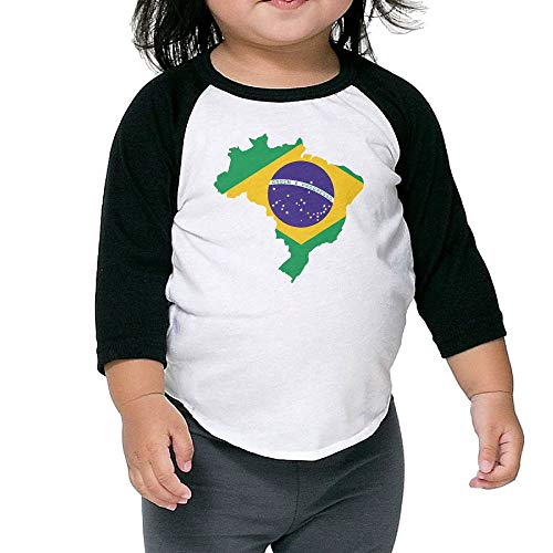 ThsLinj-9 Toddler Children's Brasil Flag Map Printed 3/4 Raglan Sleeve Tee 100% Cotton Infants Clothes