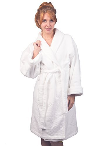 Plush Cotton Terry Bath Robe | For Women Men | White Waffle Exterior | Luxurious Comfort and Style | From Nora Angels