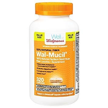 Walgreens Wal-Mucil Fiber Laxative/Supplement Capsules 320 -