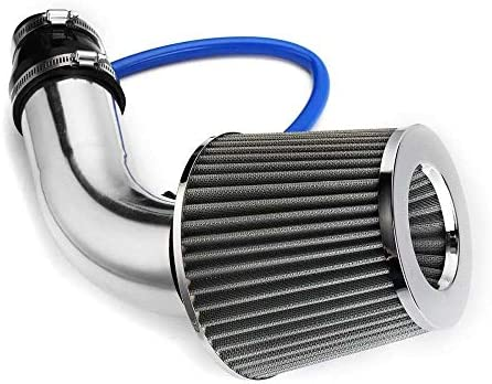 3/'/' Universal Aluminum Silver Car Cold Air Intake Filter Induction Kit Pipe