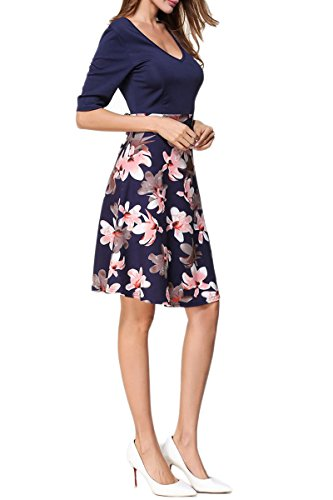 Women's Floral V Cocktail Dress Sleeve Navy Neck Print blue Half YMING Patchwork dZx1dS