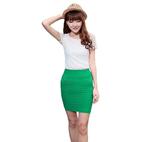 BOZEVON Femmes Jupe Crayon Coton Taille Elastique Couleur Unie Bande Jupe Vert