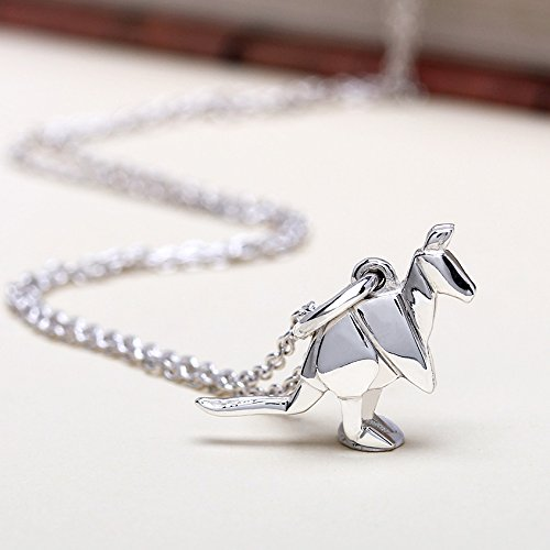 Amazon Jumpy Origami Kangaroo Sterling Silver Charm Necklace By